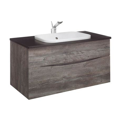 Bauhaus - Glide II 100 Unit with Plus+Ton Ceramic Worktop & White Basin - Driftwood