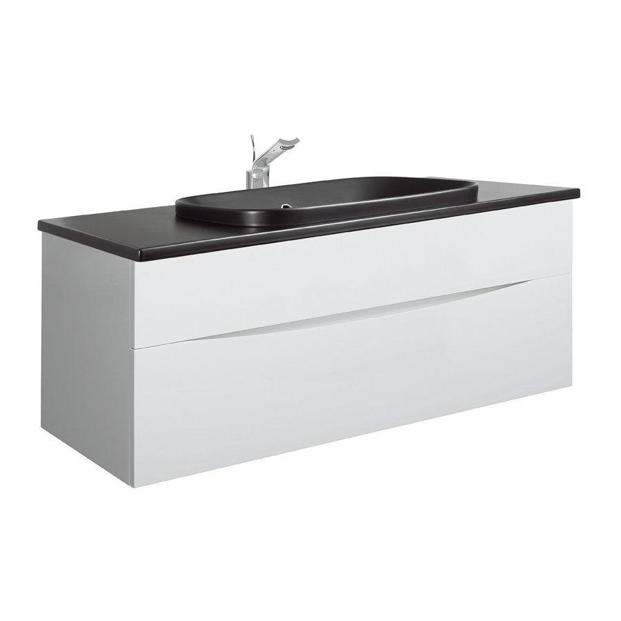 Bauhaus - Glide II 100 Unit with Plus+Ton Ceramic Worktop & Black Basin - White Gloss Large Image
