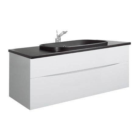 Bauhaus - Glide II 100 Unit with Plus+Ton Ceramic Worktop & Black Basin - White Gloss