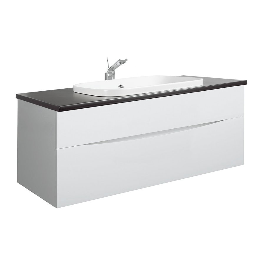 Bauhaus - Glide II 100 Unit with Plus+Ton Ceramic Worktop & White Basin - White Gloss profile large image view 1