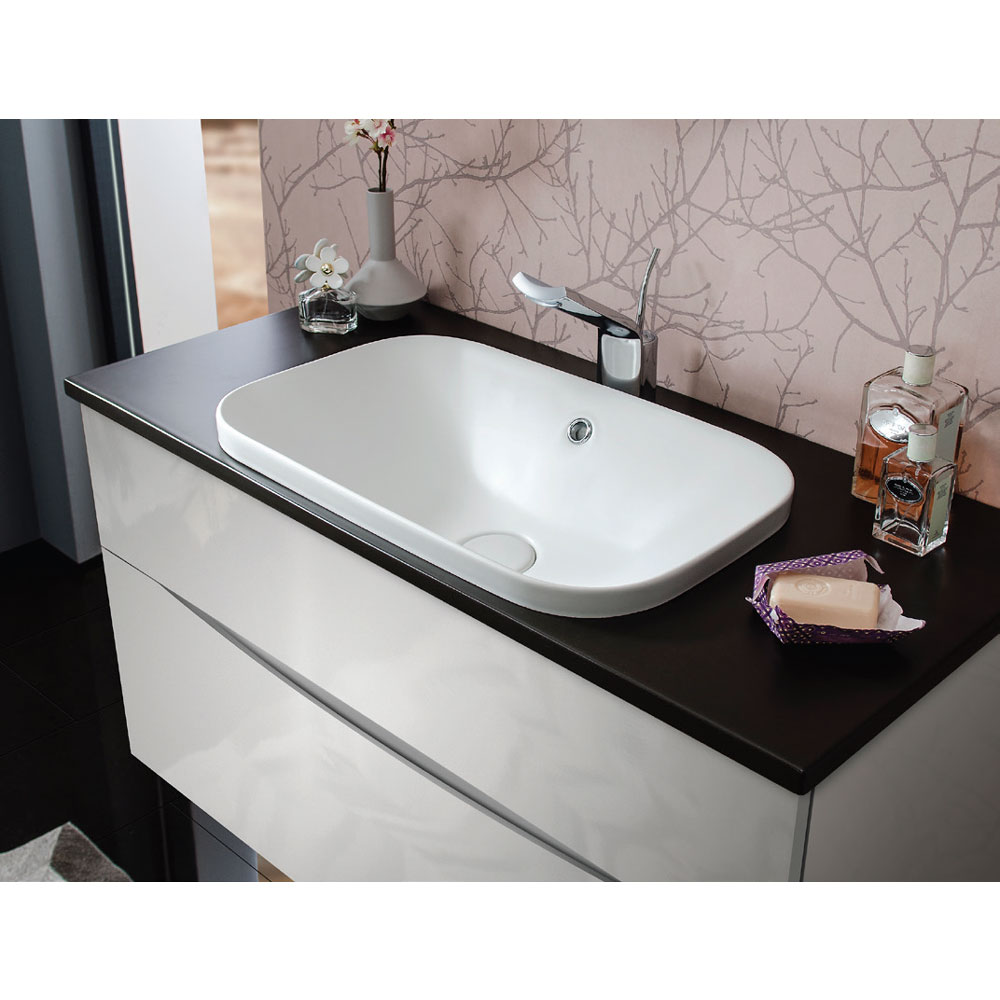Bauhaus - Glide II 100 Unit with Plus+Ton Ceramic Worktop & White Basin - American Walnut profile large image view 2