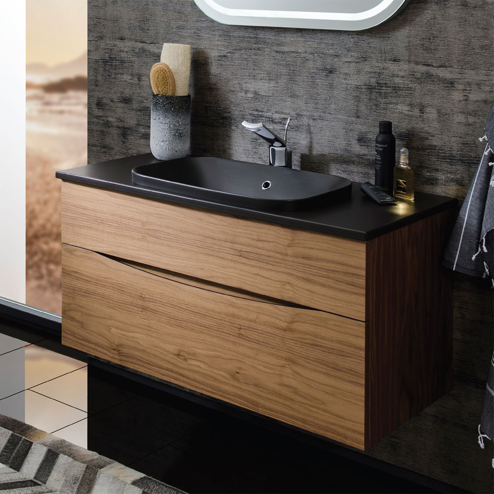 Bauhaus - Glide II 100 Unit with Plus+Ton Ceramic Worktop & Black Basin - Calico profile large image view 2