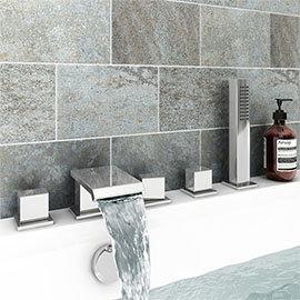 Glacier Waterfall Chrome Deck Mounted (5TH) Bath Shower Mixer Tap Inc. Shower Kit