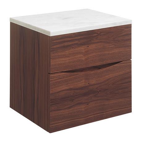 Bauhaus Glide II Vanity Unit + Marble Worktop - American Walnut
