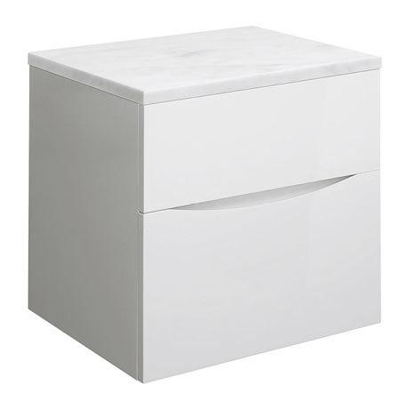 Bauhaus Glide II Vanity Unit + Marble Worktop - White Gloss