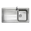 Rangemaster Glendale 1.0 Bowl Stainless Steel Kitchen Sink profile small image view 1