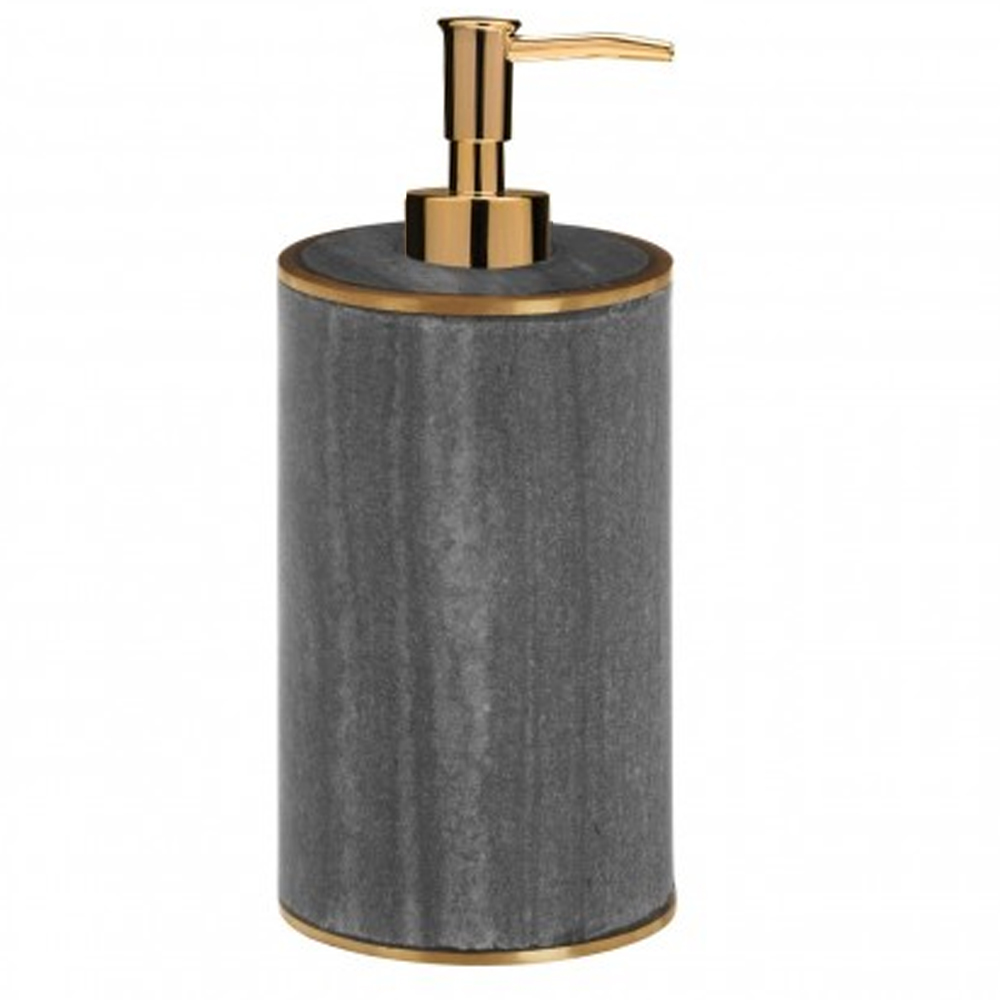 Turin Grey Marble Brass Effect Lotion/Soap Dispenser