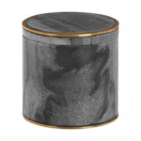 Turin Grey Marble Brass Effect Storage Pot