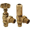 Gosport Traditional Angled Radiator Valves - Brass profile small image view 1