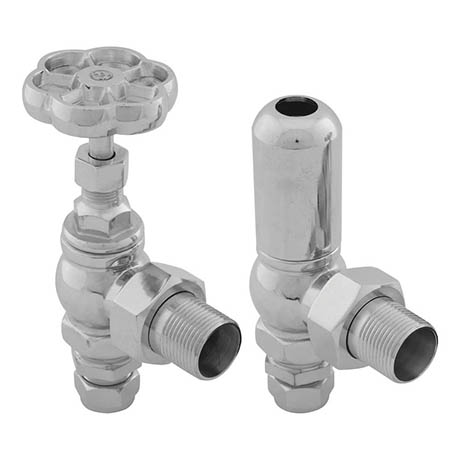 Gosport Traditional Angled Radiator Valves - Chrome