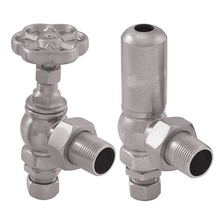 Gosport Traditional Angled Radiator Valves - Satin Nickel