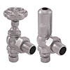 Gosport Traditional Angled Radiator Valves - Satin Nickel profile small image view 1