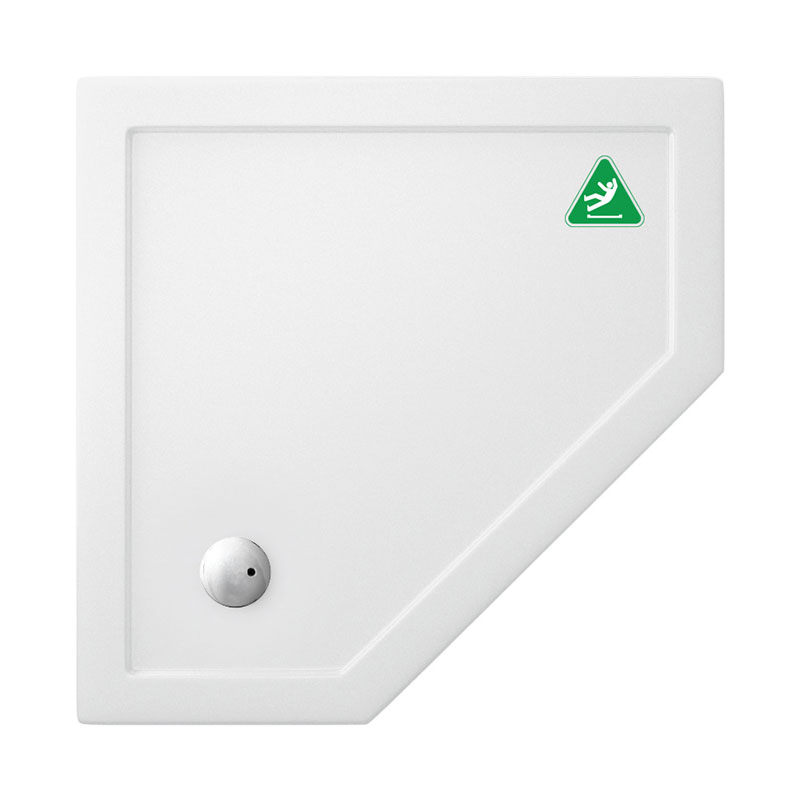Simpsons Anti-Slip Pentagon 35mm Acrylic Shower Tray with Waste - Various Size Options Large Image