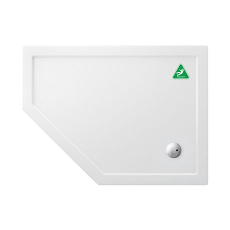Simpsons Anti-Slip Offset Pentangle 35mm Acrylic Shower Tray with Waste - Left Hand - Various Size O