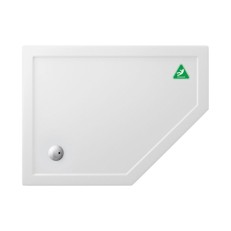 Simpsons Anti-Slip Offset Pentangle 35mm Acrylic Shower Tray with Waste - Right Hand - Various Size Options Large Image
