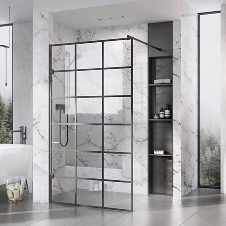 Roman Liberty Black Grid Wetroom Screen - Various Sizes (2000mm High)