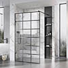 Roman Liberty Black Grid Wetroom Screen + Wall Arm Support - Various Sizes (2000mm High) profile small image view 1