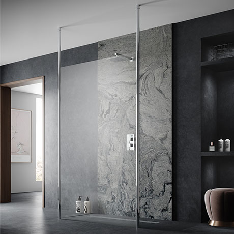 Hudson Reed Free Standing Wet Room Screen with Double Ceiling Posts