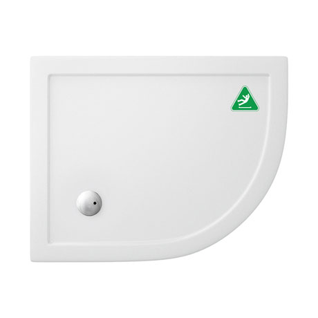 Simpsons Anti-Slip Offset Quadrant 35mm Acrylic Shower Tray with Waste - Right Hand - Various Size Options
