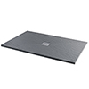 Imperia 1200 x 900mm Graphite Slate Effect Rectangular Tray + Chrome Waste profile small image view 1