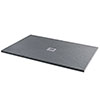 Imperia 1400 x 900mm Graphite Slate Effect Rectangular Shower Tray + Chrome Waste profile small image view 1