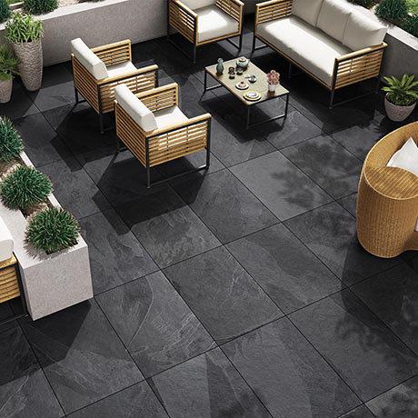 Grado Black Outdoor Stone Effect Floor Tile - 600 x 900mm
