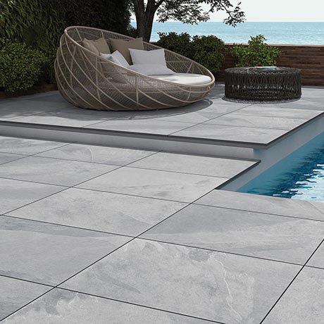 Grado Grey Outdoor Stone Effect Floor Tile - 600 x 900mm