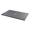 1400 x 800mm Graphite Slate Effect Rectangular Shower Tray + Chrome Grill Waste profile small image view 1