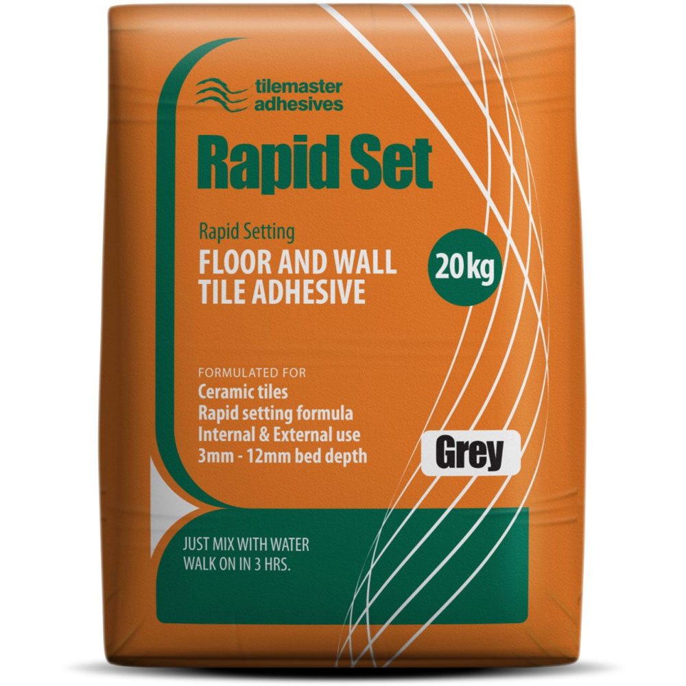 Tilemaster Adhesives - 20kg Rapid Set Floor & Wall Tile Adhesive - Grey Large Image