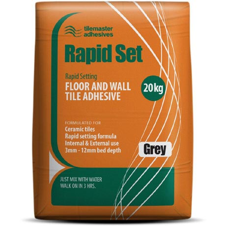 Tilemaster Adhesives - 20kg Rapid Set Floor & Wall Tile Adhesive - Grey