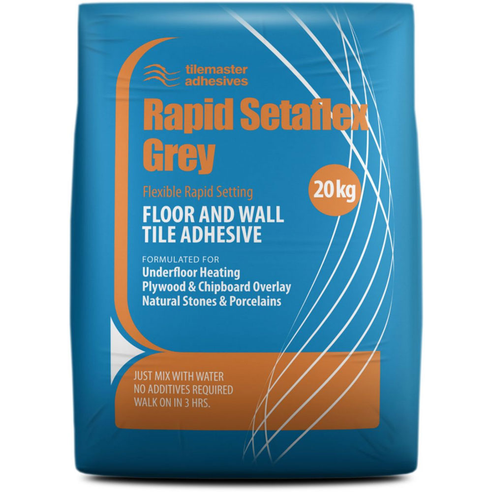 Tilemaster Adhesives - Rapid Setaflex Floor & Wall Tile Adhesive - Grey - Various Pack Sizes Large Image