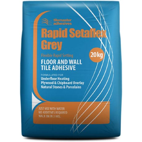 Tilemaster Adhesives - Rapid Setaflex Floor & Wall Tile Adhesive - Grey - Various Pack Sizes