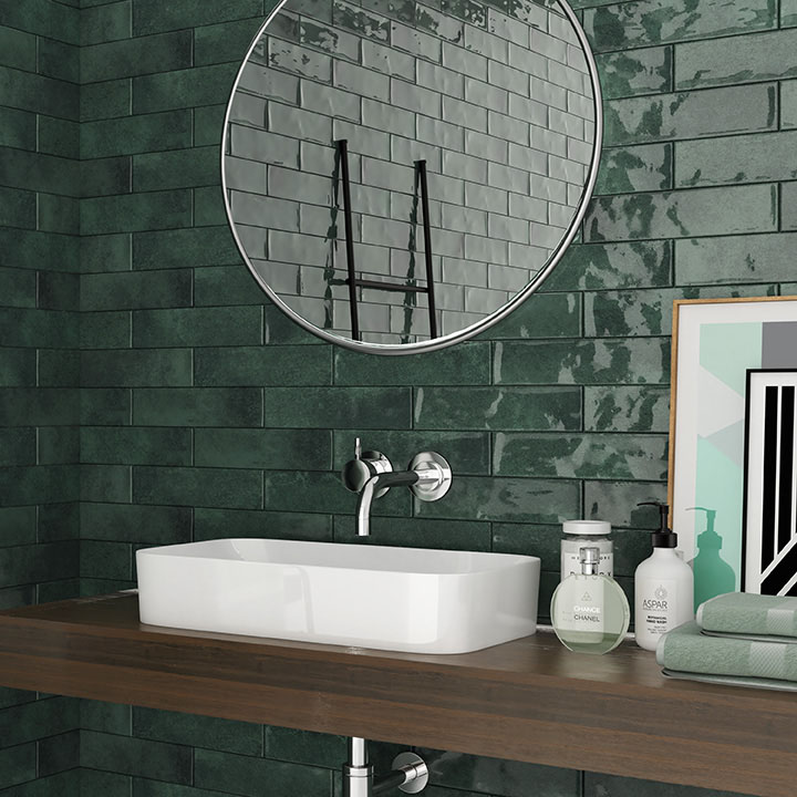 Granley Rustic Green Gloss Wall Tiles 70 x 280mm | Traditional Bathroom Design Ideas
