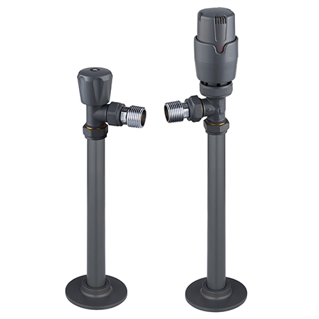 Monza Modern Grey Angled Thermostatic Radiator Valves inc. 180mm Stand Pipes