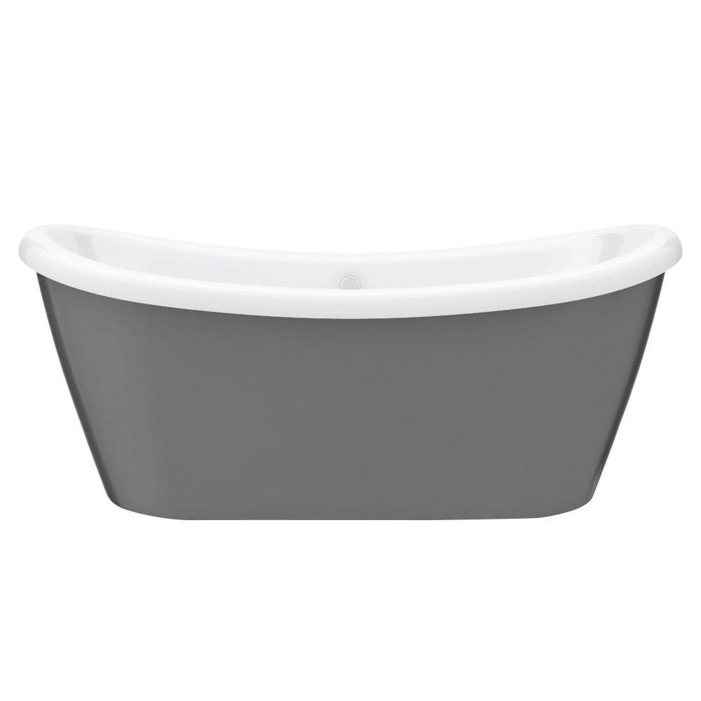 1770 x 775 Gloss Grey Double Ended Slipper Roll Top Bath