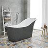 Vienna Grey 1730 Modern Slipper Free Standing Bath profile small image view 1