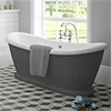 Chatsworth Dark Grey 1770 Double Ended Slipper Roll Top Bath profile small image view 1