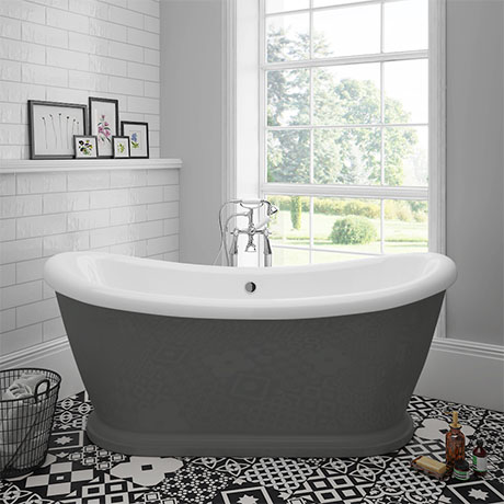 Chatsworth Dark Grey 1770 Double Ended Slipper Roll Top Bath