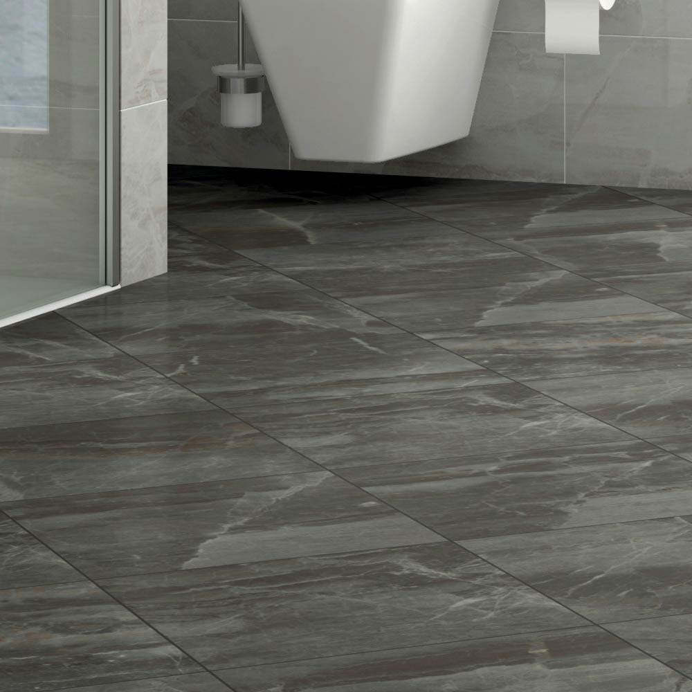 Gio Grey Marble Effect Porcelain Floor Tiles - 45 x 45cm Large Image