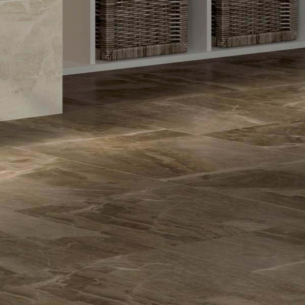 Gio Brown Marble Effect Porcelain Floor Tiles - 45 x 45cm Large Image