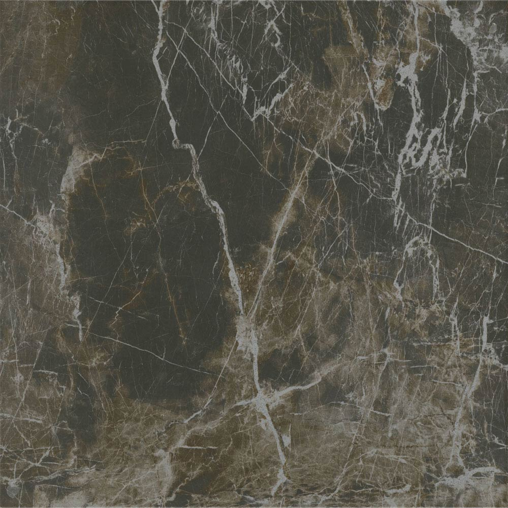 Pavia Mocha Gloss Porcelain Floor Tiles - 60 x 60cm Large Image