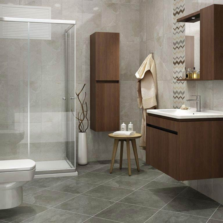Casca Grey Matt Porcelain Floor Tiles - 60 x 60cm  Profile Large Image