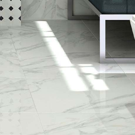 Pavia Marble Effect Grey Gloss Porcelain Floor Tiles 60