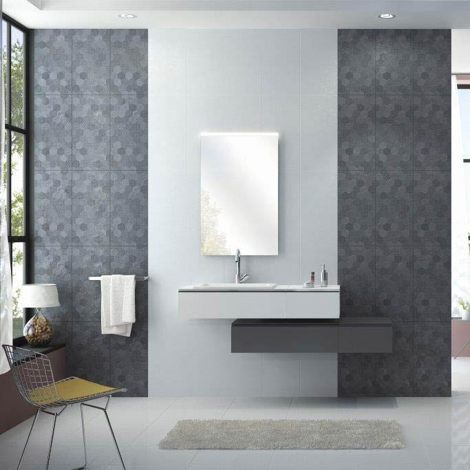 Arden Anthracite Linen Effect Hexagon Decor Wall Tiles - 30 x 60cm  Profile Large Image