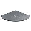 Imperia 800 x 800mm Graphite Slate Effect Quadrant Shower Tray + Chrome Waste profile small image view 1
