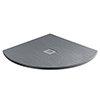 Imperia 900 x 900mm Graphite Slate Effect Quadrant Shower Tray + Chrome Waste profile small image view 1