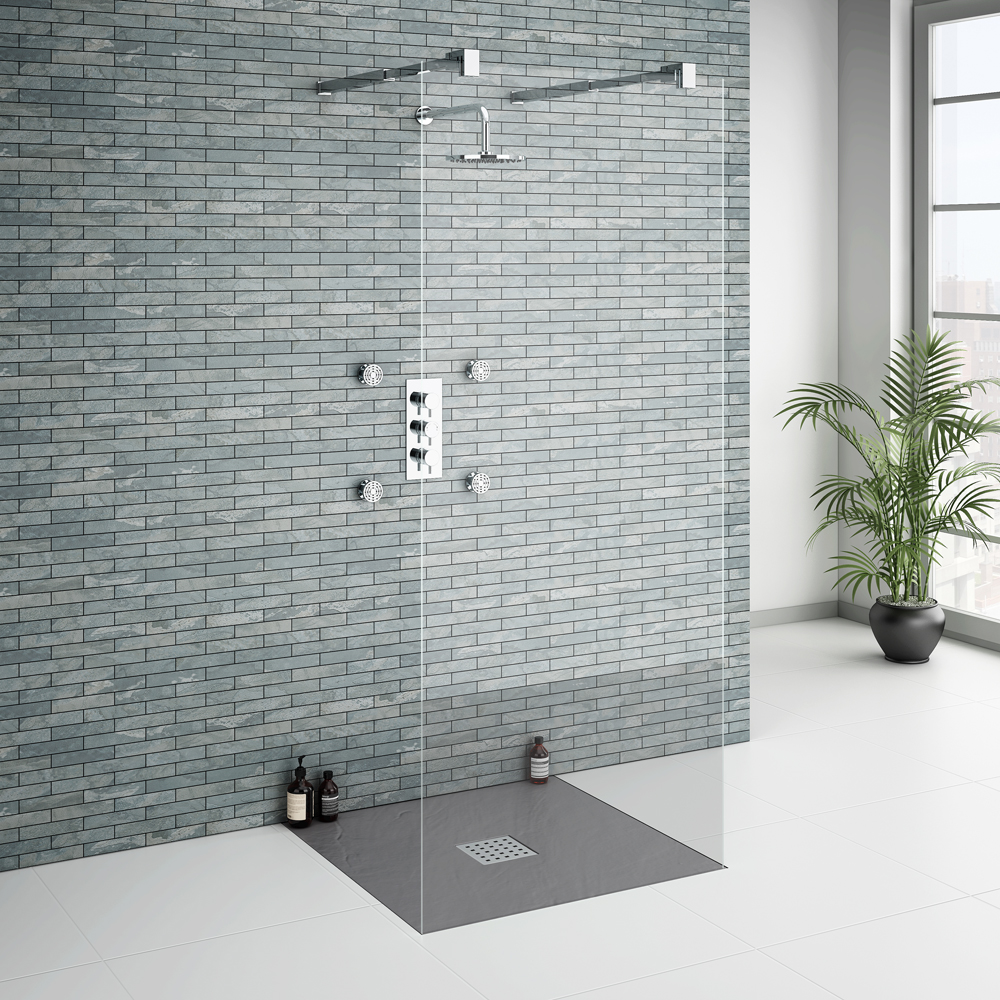 Imperia Graphite Slate Effect Square Shower Tray 800 x 800mm Inc. Waste Feature Large Image