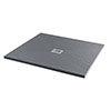 Imperia 900 x 900mm Graphite Slate Effect Square Tray + Chrome Waste profile small image view 1