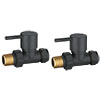 Modern Anthracite Straight Radiator Valves (Pair) profile small image view 1