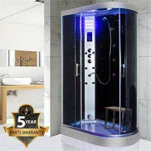 Insignia - 1200mm Steam Shower Cabin with Black Backwalls - GT5000B Medium Image